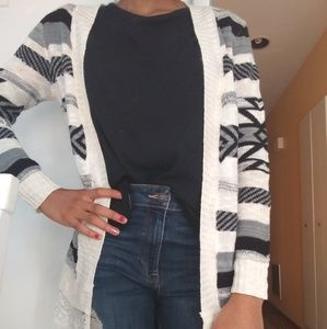 White Grey and Black Lace cardigan